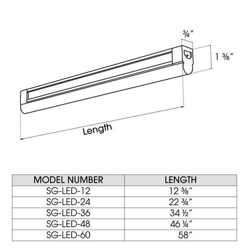 SG-LED-12/30-W one foot, 4.5 watt, 3000K, under-2