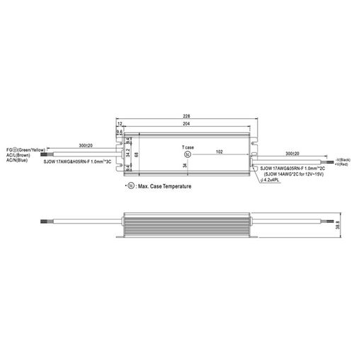 HLG-185H-12 185 watt, 12Vdc constant voltage, 13-2