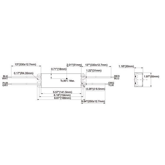 T1M1UNV150P-40L dimensions
