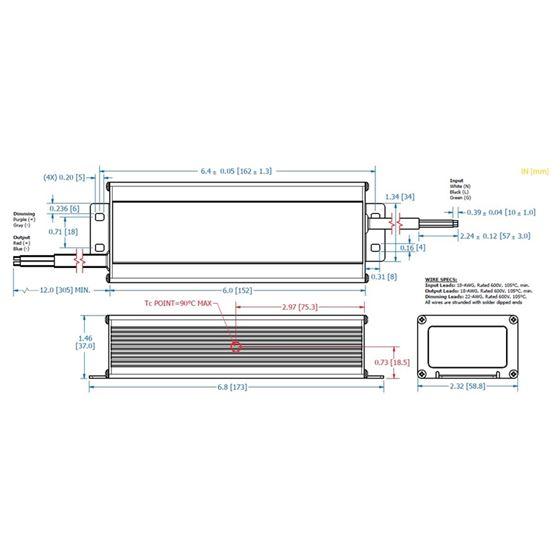 PLED96W-069-C1400-D dimensions